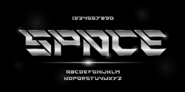 Esporte moderno futurista alfabeto fonte tipografia estilo urbano para tecnologia design de logotipo de filme digital