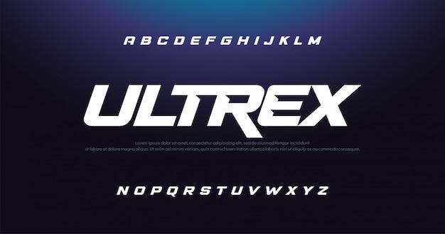 Esporte moderno itálico alfabeto fonte tipografia urbano