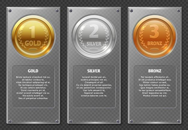 Esporte ou infográficos de negócios com medalhas de prêmio vencedores