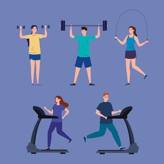 Esporte, pessoas do grupo praticando esporte, estilo de vida saudável