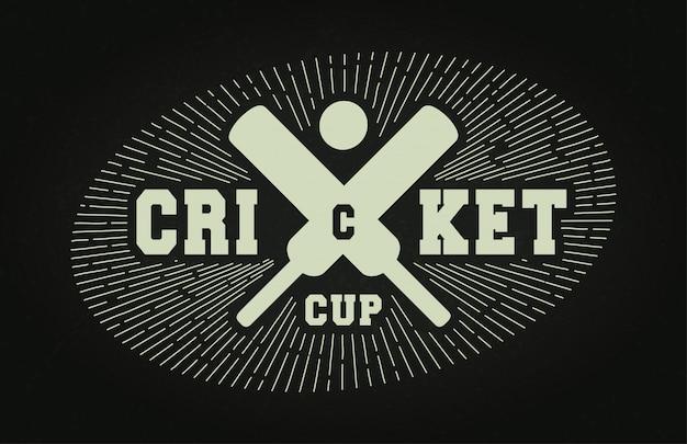 Esporte profissional moderno de críquete de tipografia super herói estilo vetor emblema e logotipo design com bola