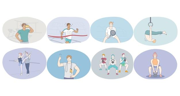 Esporte profissional, treino, conceito de treinamento.