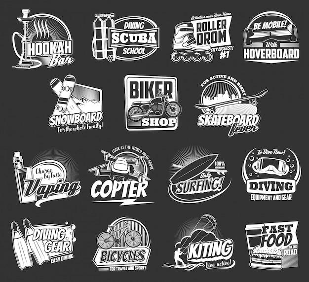 Esporte radical e ícones de lazer ativo