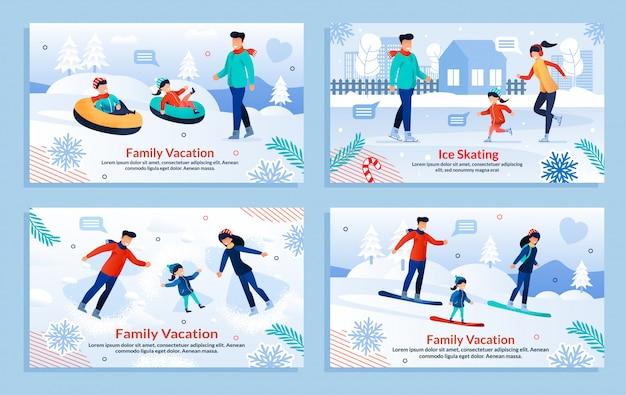 Esporte radical para a família no conjunto de férias de inverno
