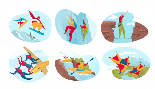 Esporte radical para pessoas ativas, perigosas aventuras ao ar livre, ilustração