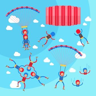 Esporte radical pára-quedismo vector conjunto de ilustração