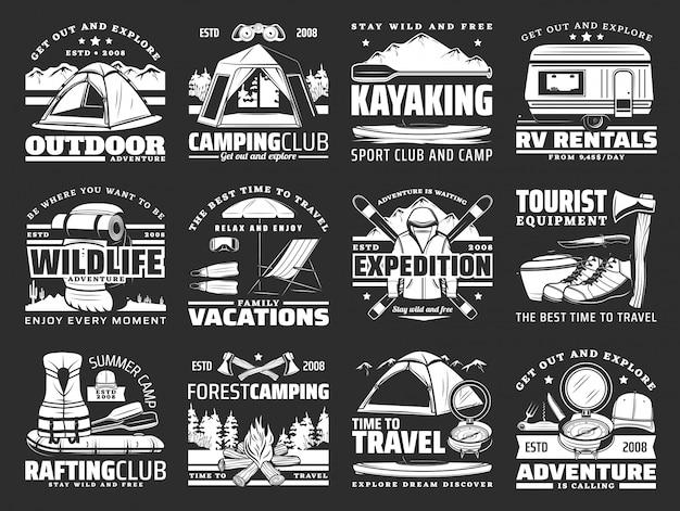 Esporte, viagens e ícones de lazer ativo