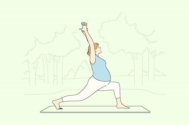 Esporte, yoga, gravidez, cuidados de saúde, conceito de formação