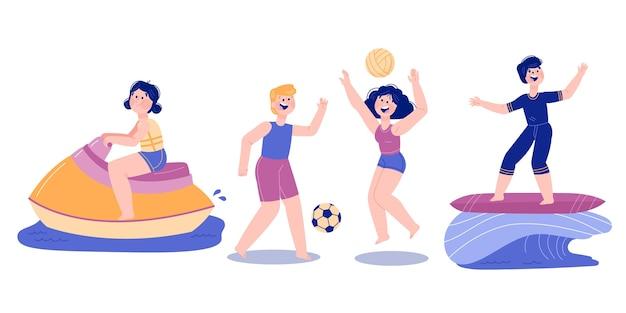 Esportes ao ar livre no verão e várias atividades