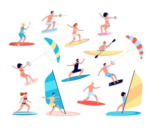Esportes aquáticos. canoas, estilo de vida extremo do mar. surf e windsurf, atividades recreativas ao ar livre do oceano. conjunto de lazer de verão. surfista de windsurf, vela, ilustração de desportista ao ar livre