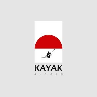 Esportes aquáticos, inspiração para design de logotipo de caiaque