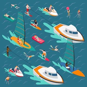 Esportes aquáticos pessoas coloridas composição