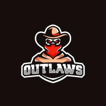 Esportes coloridos mascote cowboy crânio logotipo bandana chapéu