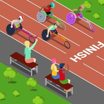 Esportes com deficiência. pessoas portadoras de deficiência em uma competição. ilustração vetorial isométrica