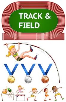 Esportes de atletismo e medalhas esportivas