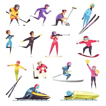 Esportes de inverno conjunto com esqui snowboard e patinação plana isolado