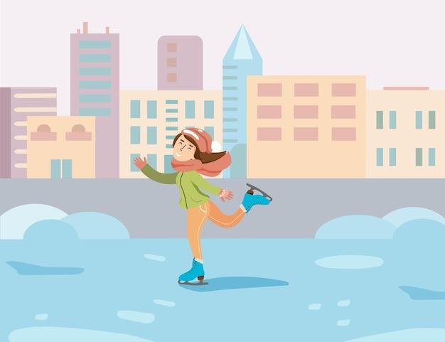 Esportes de inverno. patinação artística. divirta-se durante as férias de inverno