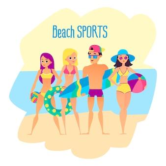 Esportes de praia. quatro jovens na praia