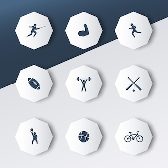 Esportes, ícones octogonais com sombras