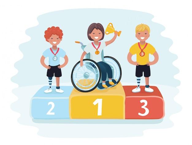 Esportes isométricos para povos com atividade deficiente. medalhas de ouro, prata e bronze no pódio com confetes. prêmio em primeiro lugar.