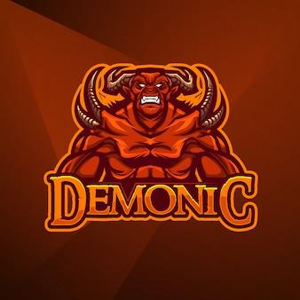 Esportes mascote logotipo design vector modelo esport demônio diabo monstro inferno