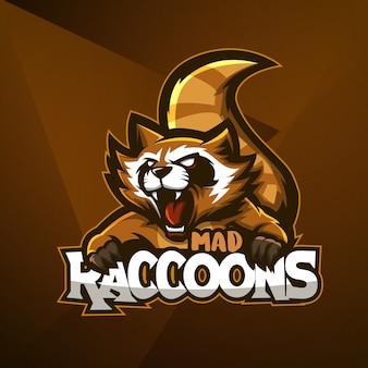 Esportes mascote logotipo design vector modelo esport guaxinim animal louco com raiva