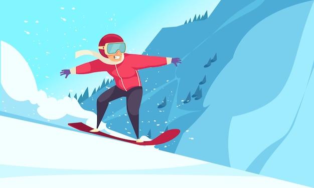 Esportes radicais de inverno com símbolos de snowboard planas