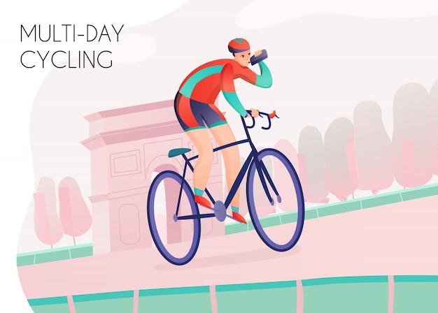 Esportista com garrafa de água em roupas esportivas brilhantes durante o ciclismo de vários dias no arco