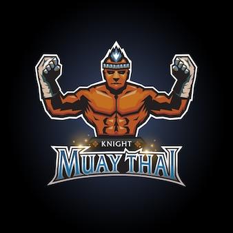 Esports cavaleiro muay thai clube logo design