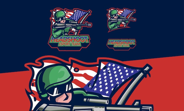 Esports logo sniper gaming ilustração de mascote de vetor premium