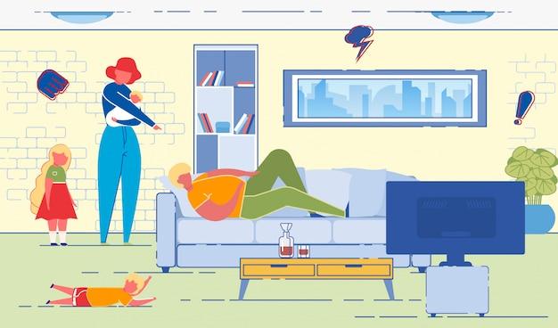Esposa, apontando para o marido, que está deitado no sofá