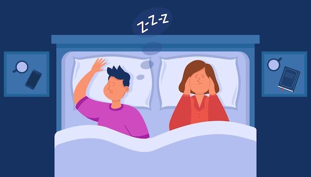 Esposa de desenho animado com problemas para dormir por causa do marido roncando
