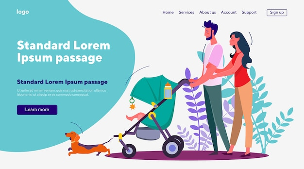 Esposa e marido andando com o bebê no carrinho e cachorro