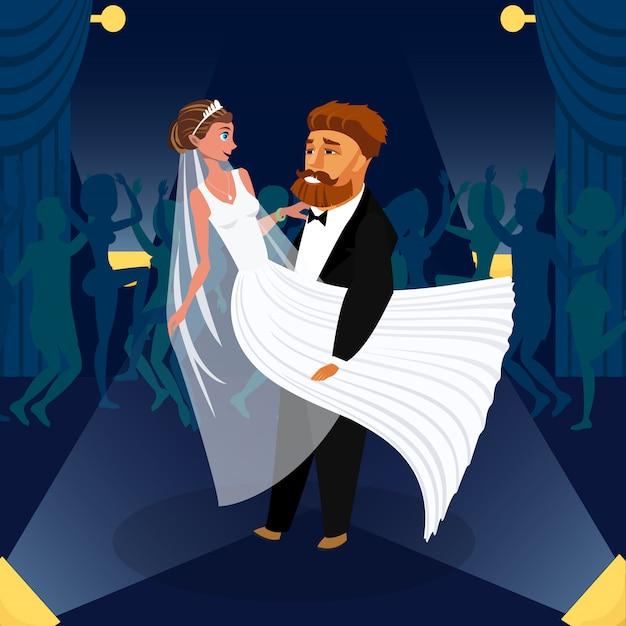Esposa e marido em personagens de desenhos animados de casamento.