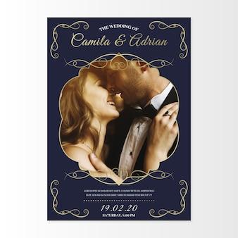 Esposa e vassoura beijando convite modelo de casamento