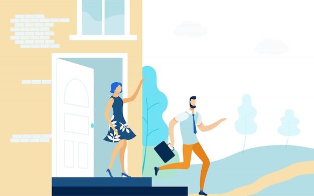 Esposa enviar marido para trabalhar ilustração vetorial plana