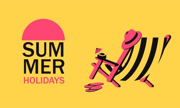 Espreguiçadeira com chapéu de praia e coquetel de coco e texto de férias de verão.