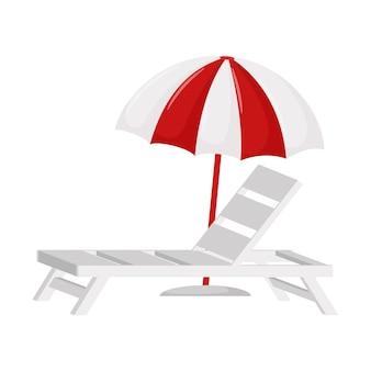 Espreguiçadeira de praia branca e guarda-sol. um símbolo do verão. um elemento de design para férias, verão, praia