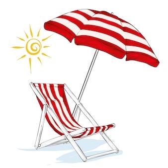 Espreguiçadeira de praia, guarda-sol e sol. verão e relaxamento à beira-mar. ilustração vetorial