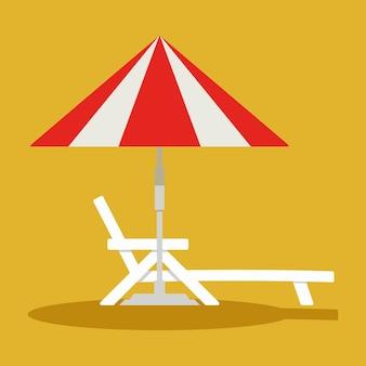 Espreguiçadeira ou espreguiçadeira com guarda-sol. guarda-sol linear ou de praia com espreguiçadeira
