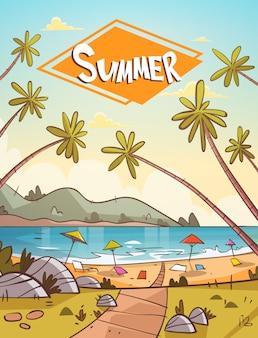 Espreguiçadeiras de férias de verão na paisagem de praia do mar bela bandeira de seascape férias à beira-mar
