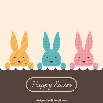 Espreitando o cartão de coelhos de páscoa