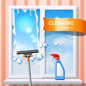 Espreme de limpeza de janela de vetor spray de detergente 3d Vetor Premium