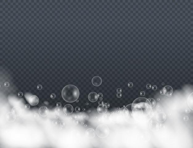 Espuma de banho com bolhas de xampu isoladas em um fundo transparente. mousse de espuma com bolhas.
