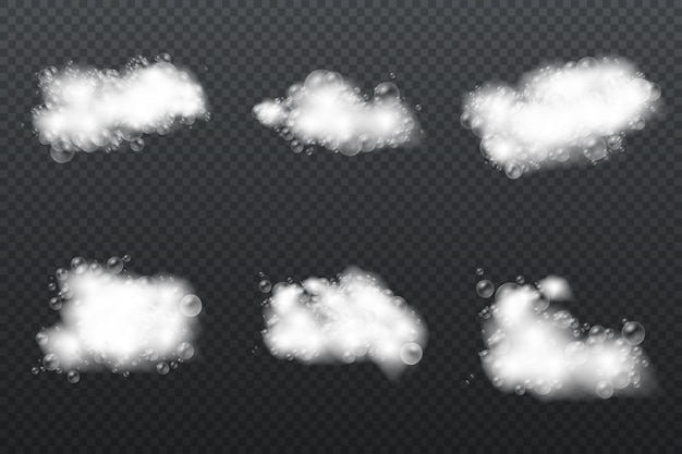 Espuma de banho com bolhas de xampu isoladas