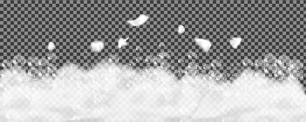Espuma de banho isolada em transparente. textura de bolhas de shampoo.