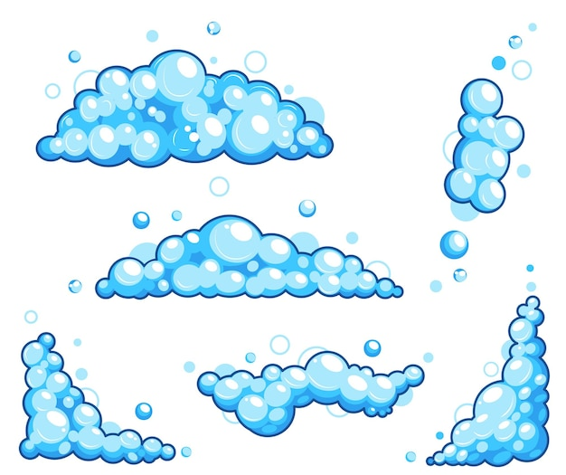 Espuma de sabão de desenho animado com bolhas. espuma de banho azul claro, shampoo, barbear, mousse.