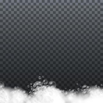 Espuma de sabão isolada em fundo transparente.
