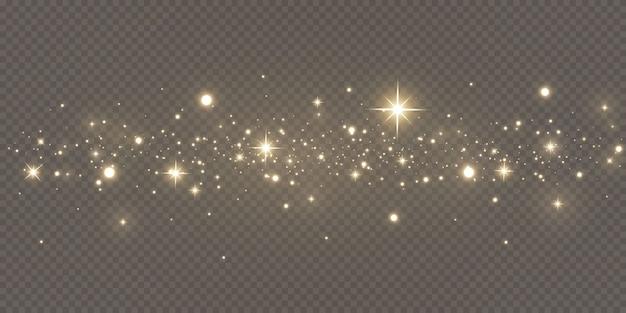 Espumante pó mágico. sobre um fundo preto e branco estrutural. abstrato de celebração feito de partículas de poeira brilhantes douradas. efeito mágico. estrelas douradas. festivo.