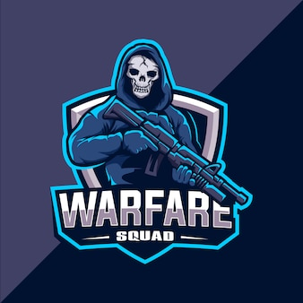 Esquadrão de caveira com logotipo de esport mascote de arma